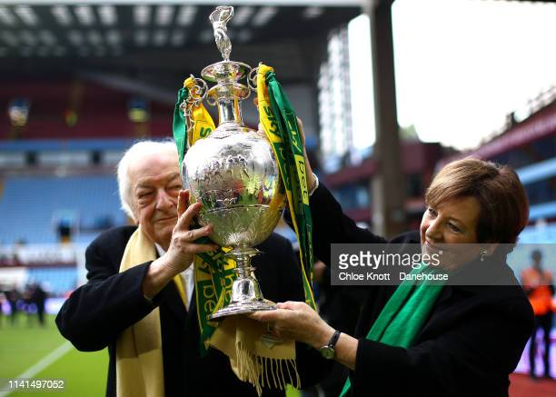 Delia Smith hold the trophy after the Sky Bet Championship match between Aston Villa and Norwich City at Villa Park on May 5 2019 in Birmingham...