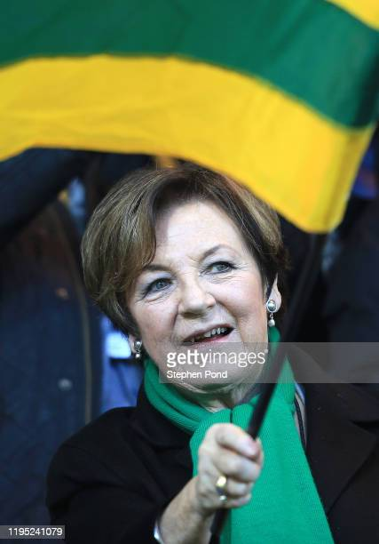Delia Smith Joint Majority Shareholder of Norwich City waves a flag prior to the Premier League match between Norwich City and Wolverhampton...