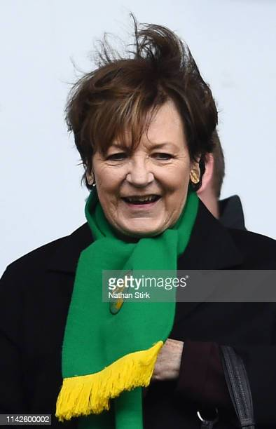 Delia Smith looks on prior to the Sky Bet Championship match between Wigan Athletic and Norwich City at DW Stadium on April 14 2019 in Wigan England