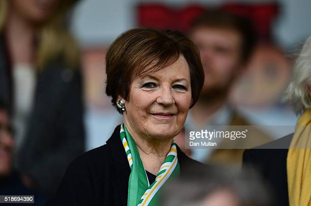 Delia Smith, Norwich City majority shareholder is seen on the stand prior to the Barclays Premier League match between Norwich City and Newcastle...