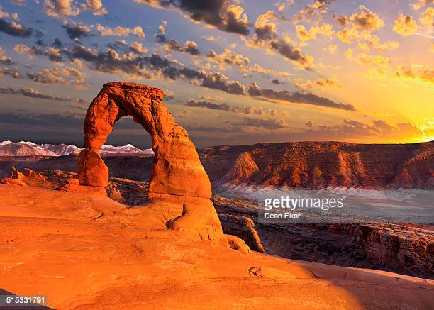 delicate arch at sunset - moab utah stock photos and pictures