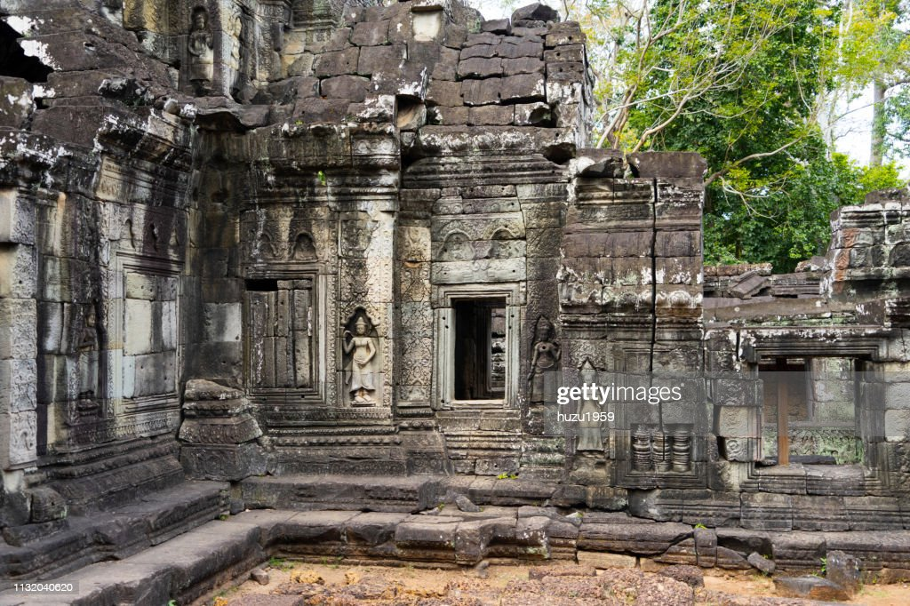 Delicate relief of Banteay Kdei, Siem Reap, Cambodia : Stock Photo