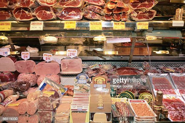 delicatessen in barcelona market - delicatessen stock pictures, royalty-free photos & images