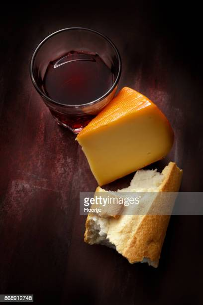 Delicatessen: Red Wine, Cheese and Baguette Still Life