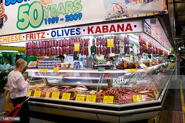 delicatessen stall in central market. - adelaide market stock pictures, royalty-free photos & images