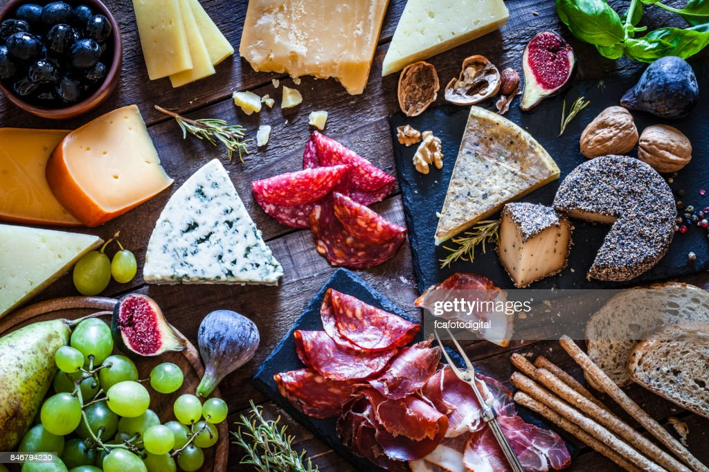 Delicious appetizer on rustic wooden table : Stock Photo