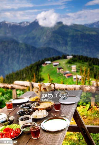 delicious breakfast with landscape view in pokut plateau, camlıhemsin, rize, turkey - trabzon stock pictures, royalty-free photos & images