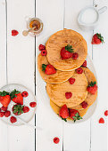 delicious breakfast with pancakes berries morning