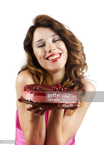 Delicious cake with cherry