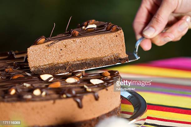 Delicious chocolate brownie and mousse dessert