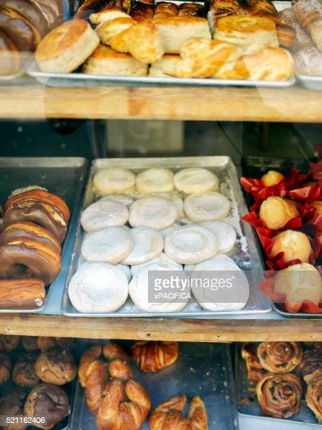 Delicious cookies and pastries in a store window