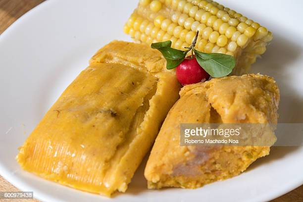 Delicious Cuban tamales stuffed with pork next to a boiled corn on the side and a wild red cherry as decoration Tamales are one of Cuba's most...