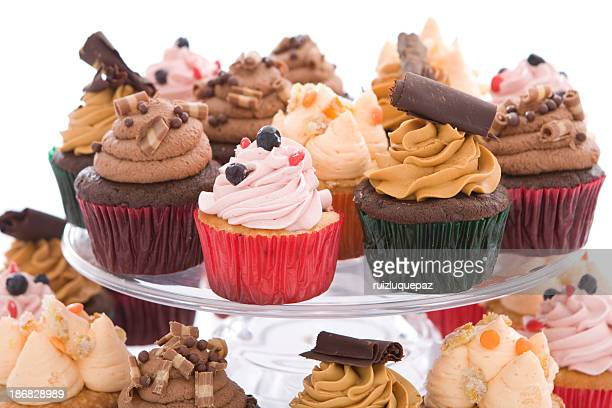 Delicious cupcakes on plate - close-up