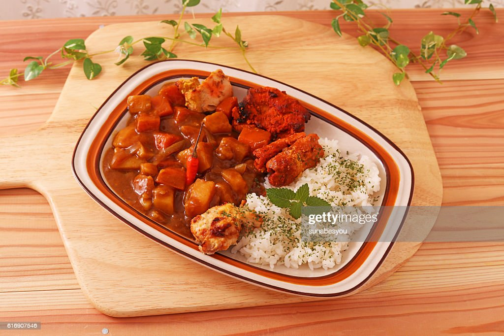 Delicious curry and rice : Stock Photo