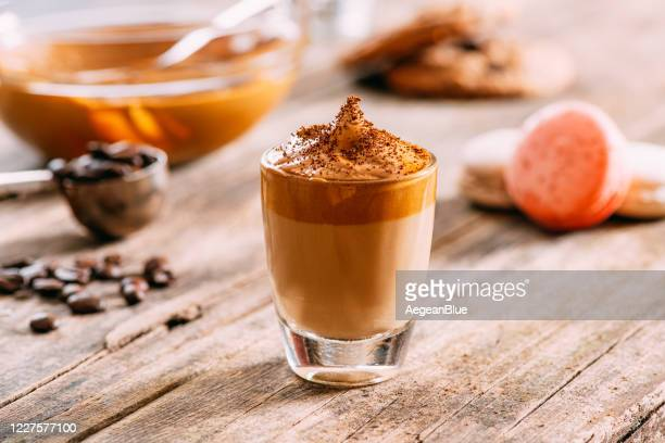 delicious dalgona coffee on rustic background - dalgona stock pictures, royalty-free photos & images