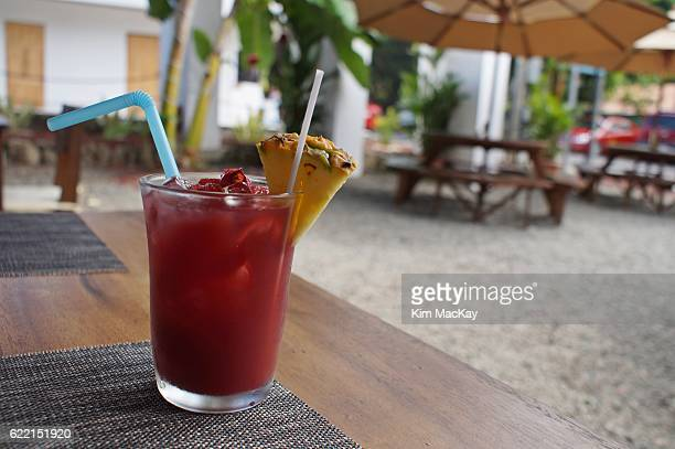 A delicious drink (Sangria) at a tropical outdoor restaurant
