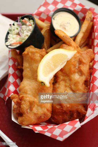 Delicious Fish and Chips with Lemon, Coleslaw
