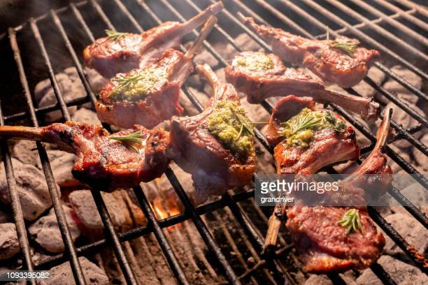 delicious frenched gourmet new zealand rack of lamb on a flaming grill - shank stock pictures, royalty-free photos & images