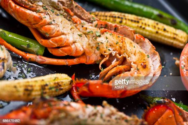 delicious fresh cooked and grilled lobster - aragosta foto e immagini stock