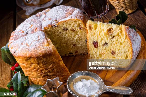 a delicious genuine italian mum christmas panettone - panettone stock pictures, royalty-free photos & images