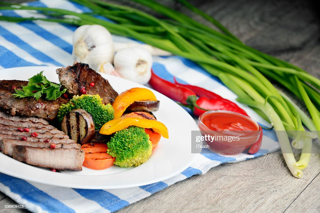 Delicious grilled beef steakes : Stock Photo