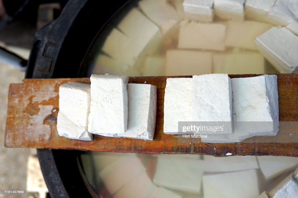 Delicious Hard tofu cubes : Stock Photo