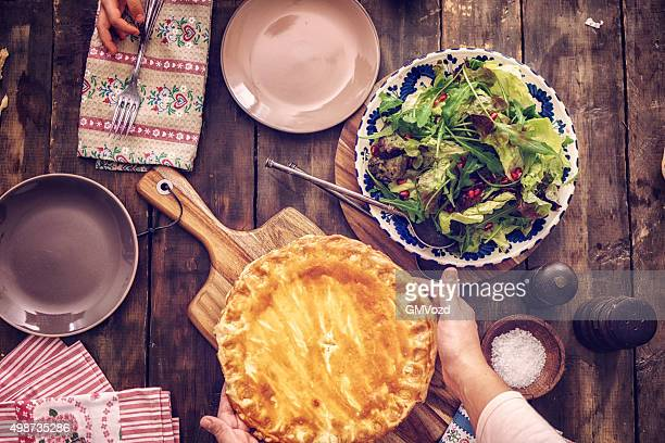 delicious homemade chicken meat pie - savoury food stock photos and pictures