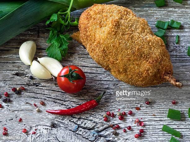 Delicious kiev chicken cutlet in ukrainian style