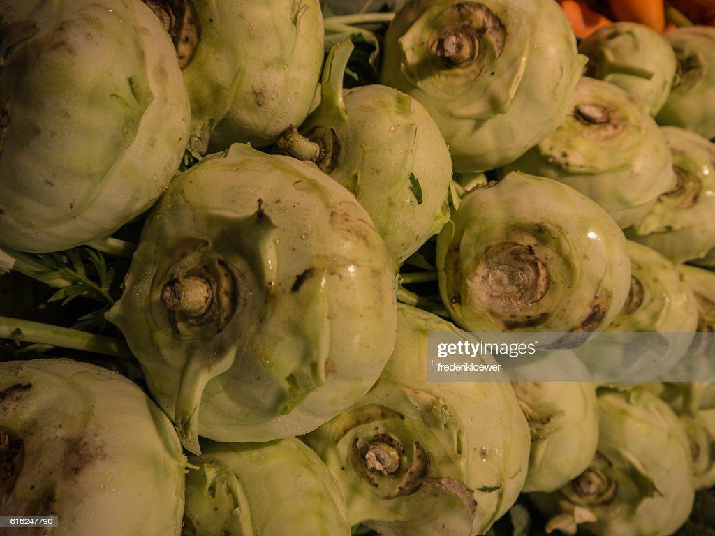 Delicious Kohlrabi on a Market : Stock Photo
