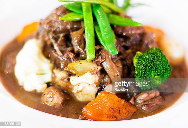 Delicious looking plate of beef stew with vegetables