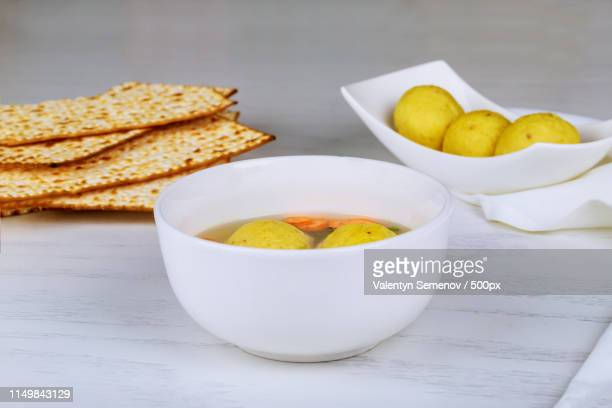 Delicious Matzoh Ball Soup With Matzah In A Pot Passover With Holy Food
