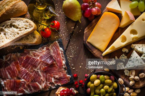 delicious mediterranean appetizer shot from above - tapas stock photos and pictures