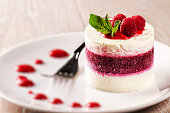Delicious panna cotta with berries.