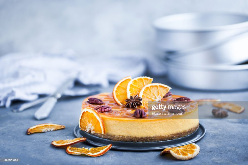 Delicious pumpkin and orange cheesecake : Stock-Foto