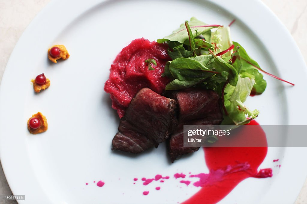 delicious restaurant veal slices : Stock Photo