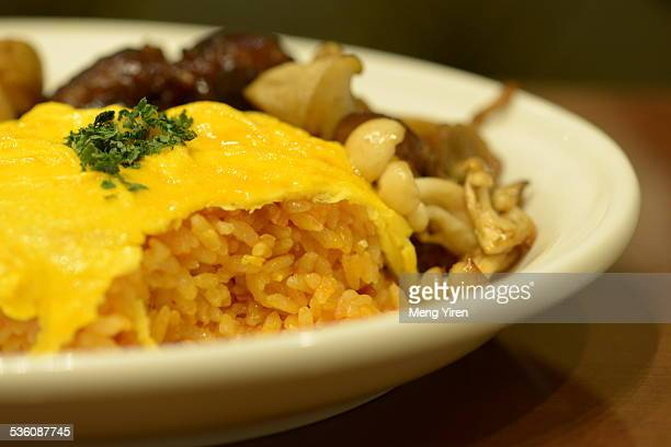 Delicious rice with egg covered