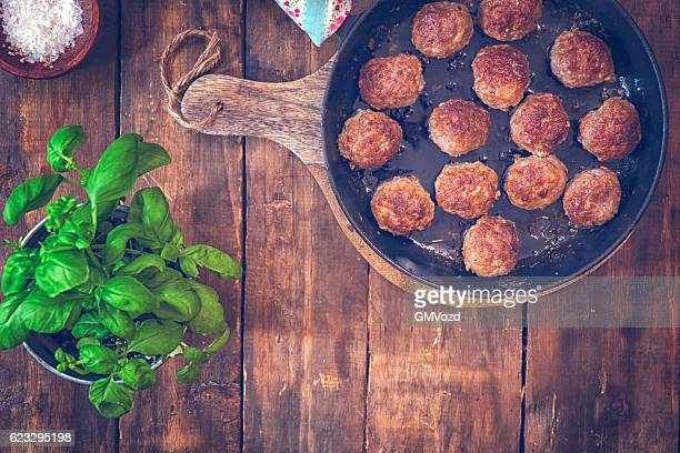 Delicious Roasted Meatballs in a Pan