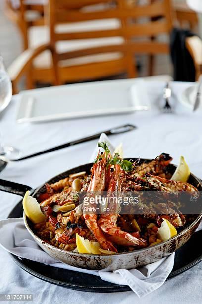 Delicious Spanish seafood paella