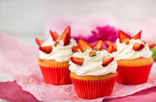 Delicious strawberry shortcake  cupcakes - gettyimageskorea