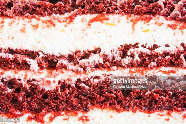 Delicious sweet food: macro of the transversal cut on a Red Velvet Cake