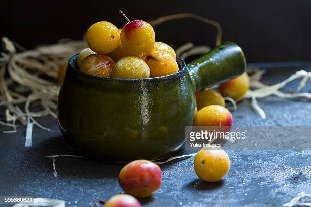 Delicious sweet yellow Mirabelle plums
