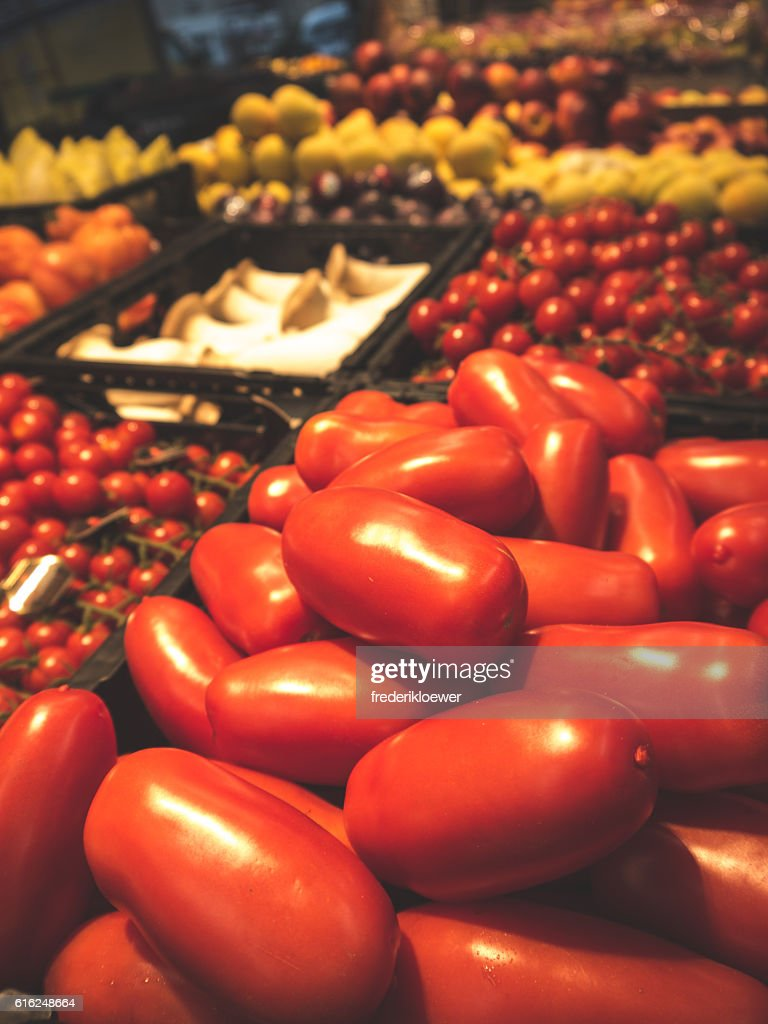 Delicious Tomatoes on a Market : Stock Photo