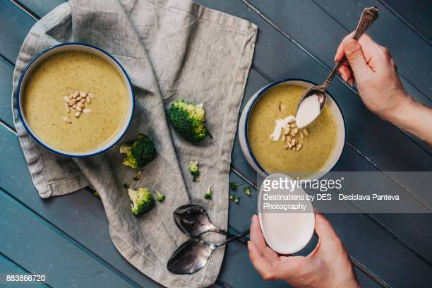 delicious vegetable cream soup - magnoliopsida stock photos and pictures