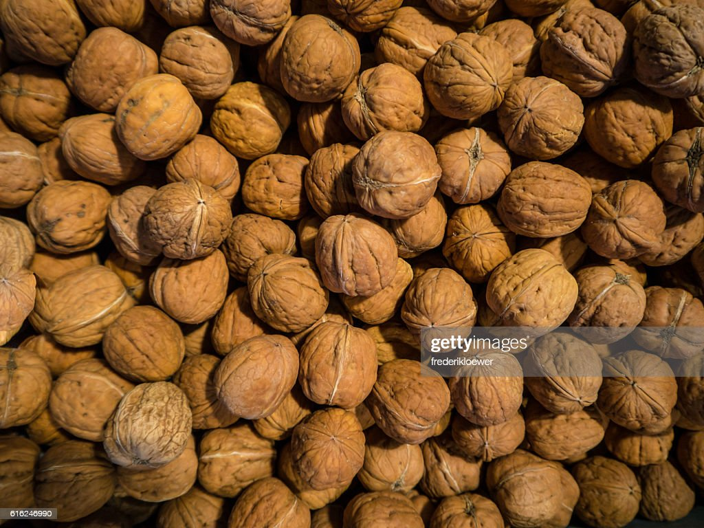 Delicious Walnuts on a Market : Stock-Foto