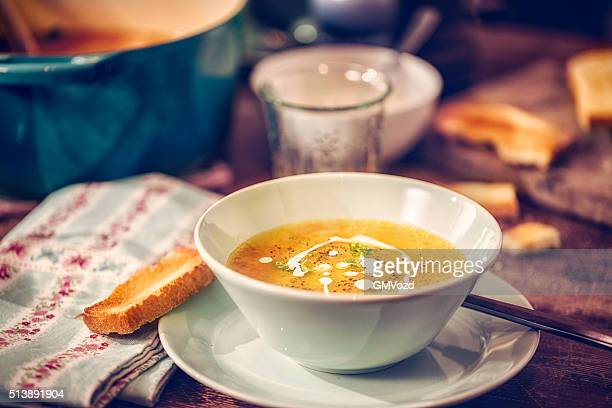 Delicous Chicken Soup with Carrots and Parsnips