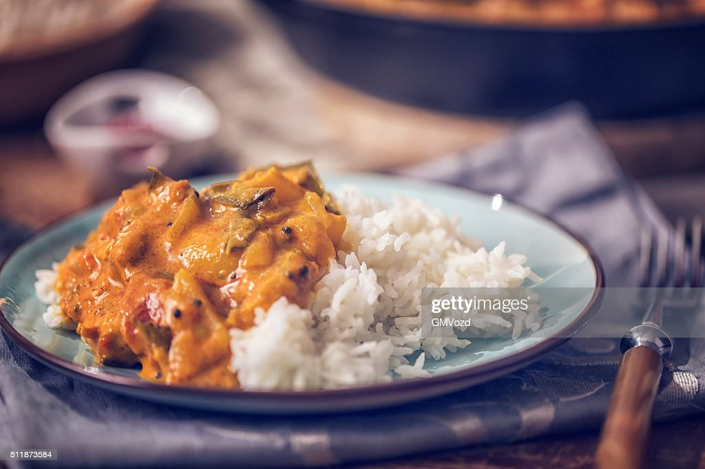 Delicous Homemade Chicken Curry Dish with Rice : Stock Photo