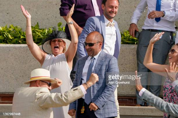 Delighted connections of Ventura Diamond as she wins The British EBF EBF Maiden Fillies' Stakes at Goodwood Racecourse on July 31 2020 in Chichester...