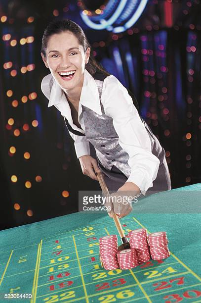 Delighted croupier