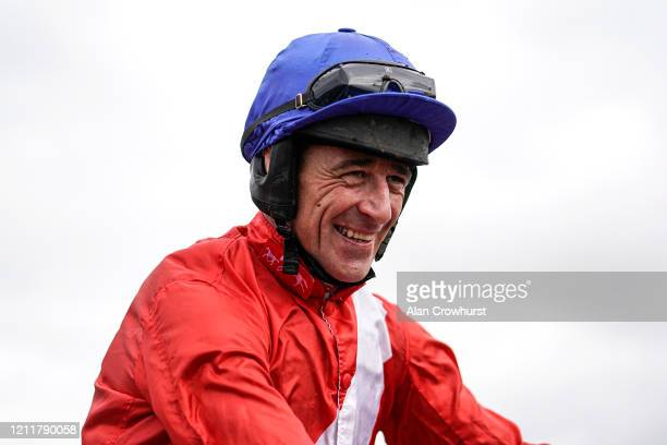 A delighted Davy Russell after riding Envoi Allen to win The Ballymore Novices' Hurdle on Ladies Day at Cheltenham Racecourse on March 11 2020 in...