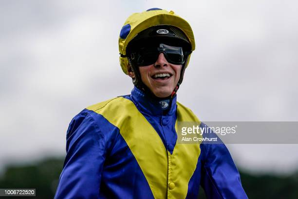 A delighted James Doyle after riding Poets Word to win The King George VI And Queen Elizabeth Stakes at Ascot Racecourse on July 28 2018 in Ascot...